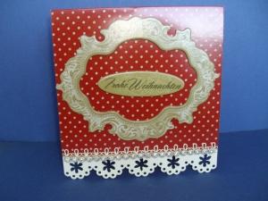 Weihnachtskarte in rot in einer besonderen Kartenform