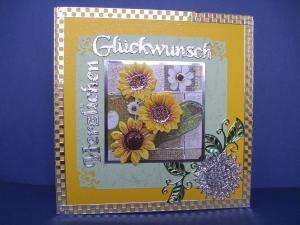 Geburtstagskarte in gelb für eine Frau mit gelben Sonnenblumen - Handarbeit kaufen
