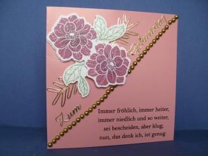 Geburtstagskarte für eine Frau in rosa mit Blumen - Handarbeit kaufen