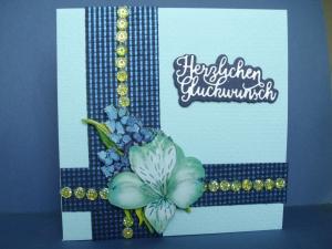 Geburtstagskarte in blauen Farbtönen für eine Frau - Handarbeit kaufen