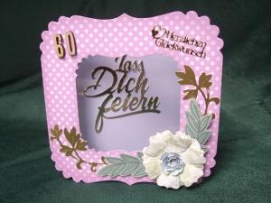 Geburtstagskarte für eine Frau zum 60 ten in rosa/weiss - Handarbeit kaufen