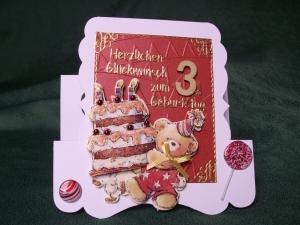 Geburtstagskarte für ein Mädchen oder einen Jungen zum 3. Geburtstag