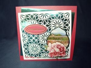 Geburtstagskarte in pink für eine Frau mit Blumenmotiv