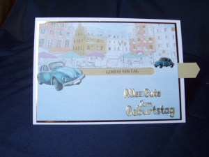 Geburtstagskarte in blau mit einem VW für eine Frau oder einen Mann
