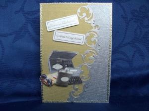 Geburtstagskarte für einen Mann in grau - Handarbeit kaufen