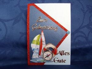 Geburtstagskarte maritim für eine Frau oder einen Mann - Handarbeit kaufen