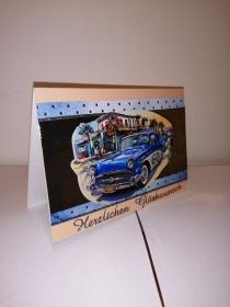 Geburtstagskarte zum 60.ten für einen Mann mit einem blauem Auto