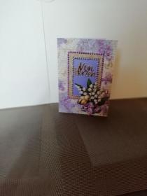 Geburtstagskarte für eine Frau in lila und mit Blumen - Handarbeit kaufen
