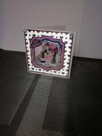 Glückwunschkarte zur Hochzeit in silber und rosa
