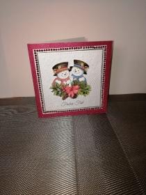 Weihnachtskarte in rot und weiss mit Schneemann - Handarbeit kaufen