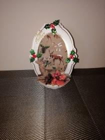 Weihnachtskarte in weiss mit Transparentpapier und mit Waldtieren  - Handarbeit kaufen