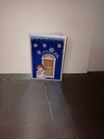 Weihnachtskarte in weiss/blau mit einem Schneemann - Handarbeit kaufen