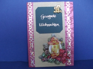 Weihnachtskarte in rot/grün mit einer Laterne - Handarbeit kaufen