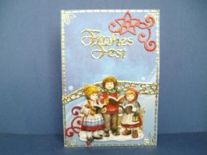 Weihnachtskarte in blau, nostalgisch, mit kleinen singenden Kindern - Handarbeit kaufen