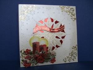 Weihnachtskarte in beige mit roten Kerzen - Handarbeit kaufen