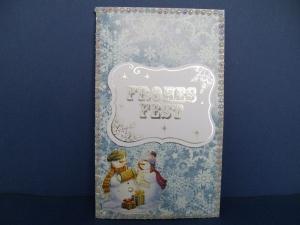 Weihnachtskarte Eiswelten in blau und weiss mit Schneemänner - Handarbeit kaufen