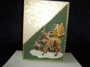 Weihnachtskarte mit einem kleinen Reh in beige/grün - Handarbeit kaufen