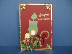 Weihnachtskarte in rot mit einer Kerze - Handarbeit kaufen