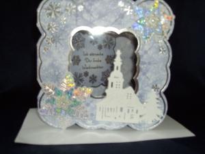 Weihnachtskarte WInterlandschaft in blau/eiss - Handarbeit kaufen