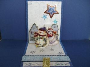 Weihnachtskarte Eiswelten blau/weiss mit Schneemänner - Handarbeit kaufen