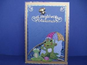 Geburtstagskarte für eine Frau mit einem Frosch - Handarbeit kaufen