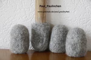 Stuhlsocken,  Farbe stahlgrau, 7 - 8 cm Stuhlbeinumfang, gefilzt, 1 Set = 4 Söckchen - Handarbeit kaufen