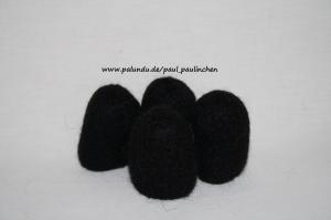Stuhlsocken, schwarz, 10 - 11 cm Stuhlbeinumfang, gefilzt, 1 Set = 4 Söckchen