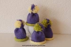 Eierwärmer, Eiermützen mit Bommel, lila/gelb, gestrickt   bei Paul & Paulinchen