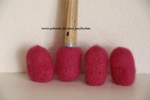 Stuhlsocken, , Farbe pink, 7 - 8 cm Stuhlbeinumfang, gefilzt, 1 Set = 4 Söckchen - Handarbeit kaufen
