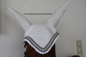Fliegenmütze, Fliegenhaube für Pferde Artikel 8006 Größe Warmblut,Fb.: weiß, Handarbeit bei Paul & Paulinchen