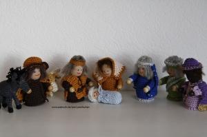 Krippenfiguren, Weihnachtsfiguren 9-tlg, gehäkelt, Größe 8-9cm, Artikel 6101 Paul & Paulinchen
