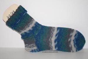 Damen-, Herrensocken Größe 42/43, handgestrickt, Artikel 4161 Farbe: blau-grau-türkis bei Paul & Paulinchen