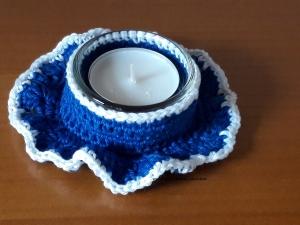 Teelichthalter gehäkelt inkl. Glas und Teelicht blau, Artikel 1004  bei Paul & Paulinchen - Handarbeit kaufen
