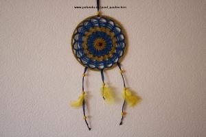 Traumfänger, Dreamcatcher, Wanddekoration gelb-blau, Artikel 1003 bei Paul_Paulinchen - Handarbeit kaufen