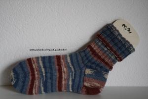 Damen-, Herrensocken , Größe 40/41, Artikel 4169 Fb: bleu-weinrot, handgestrickt bei Paul & Paulinchen    - Handarbeit kaufen