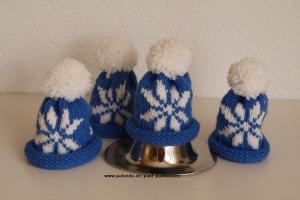 Eierwärmer, Eiermützen handgestrickt mit Norwegermuster, hellblau, 4-er Set, bei Paul & Paulinchen   - Handarbeit kaufen