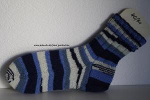 Damen-, Herrensocken , Größe 40/41, Artikel 4196 Fb: diverse Blautöne handgestrickt bei Paul & Paulinchen