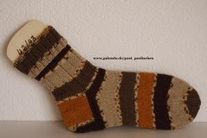 Damen-, Herrensocken Größe 42/43, handgestrickt, Artikel 4204 Farbe: verschiedene Brauntöne bei Paul & Paulinchen