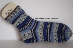 Herrensocken , Größe 42/43, Artikel 4209 handgestrickt in blau bei Paul & Paulinchen