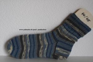Herrensocken handgestrickt, Fb.: Blau, Größe 44/45, Artikel 4217 bei Paul & Paulinchen