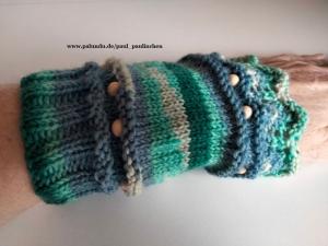 Pulswärmer, Armstulpen,  Stulpen, kurz handgestrickt, blau, Artikel 1020 von Paul_Paulinchen     - Handarbeit kaufen