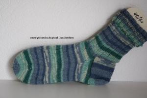 Damen-, Herrensocken , Größe 40/41, Artikel 4239 Fb: diverse Blau-Grüntöne handgestrickt bei Paul & Paulinchen