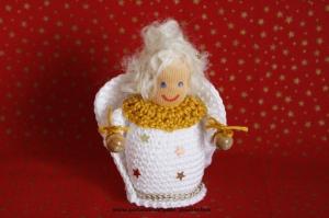 Weihnachtsengel  gehäkelt, Größe ca. 10 cm, 100% Handarbeit, Artikel 6110 bei Paul & Paulinchen   - Handarbeit kaufen
