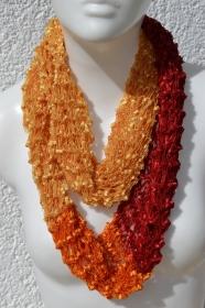Schlauchschal Loop Loopschal Schal gelb gold orange rot gestrickt handgestrickt
