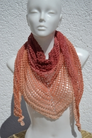 Dreieckstuch Tuch Häkeltuch Sommertuch Lacetuch Schultertuch rot orange apricot Lace gehäkelt
