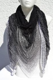 Dreieckstuch Tuch Häkeltuch Sommertuch Schultertuch schwarz grau weiß gehäkelt