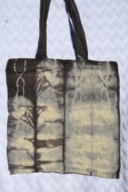 Tasche Beutel Baumwolltasche Einkaufstasche Henkeltasche Beuteltasche Batiktasche Geschenktasche schwarz grau Batik handgefärbt