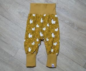 Pumphose mitwachsend, Gr. 68 - 80, Motiv: Lama, Farbe: Senf Ocker, MamiAktiv, Babysize, Toddler - Handarbeit kaufen