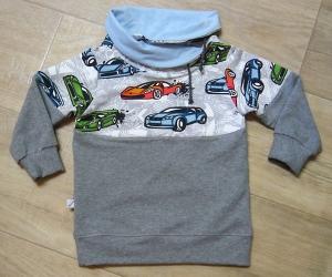 Kinderhoodie, Gr. 86-92, Motiv: Auto Farbe: grau, mit Schalkragen, Ösen und Bänder,  Sommersweat, MamiAktiv (Pullover, Pulli) - Handarbeit kaufen