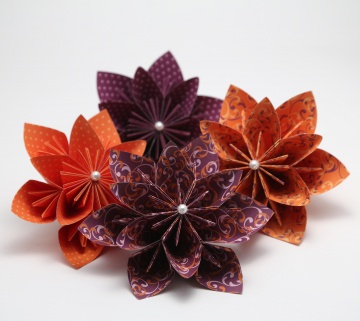 ♡ Wunderschöne Papierblumen zur Dekoration ♡ violett und orange ♡ 4er Set